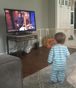 sitting in with the 8G band on Late Night with Seth Meyers (watched by my nephew Benjamin)
